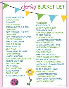 A free printable spring bucket list with 50 fun activities for your family to try!