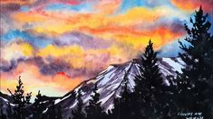 Practice Your Sky Painting! Arches Watercolor Paper, Watercolor Sunset, Easy Watercolor, Watercolor Landscape, Landscape Paintings, Watercolor Paintings, Acrylic Painting Tutorials, Watercolour Tutorials, Sky Painting