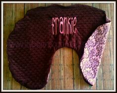 Pink and Brown Damask and Minky Boppy Pillow by LilyBeanCouture