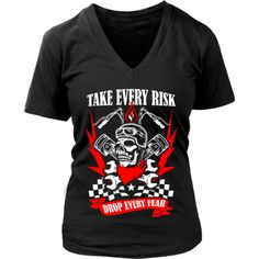 Motorcycle - 'Take Evey Risk' District Women's V-Neck Cave, Motorcycle, Tees, Mens Tops, T Shirt, Collection, Fashion, Supreme T Shirt, Moda