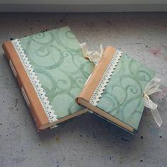 ardeas / Mentol - Zápisník A5 s koženou väzbou / mint / handmade book / bookbinding / leather / paper / spiral