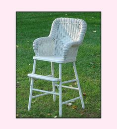 Vintage Wicker High Chair  Shabby Chic Baby by ShiftingYears, $150.00