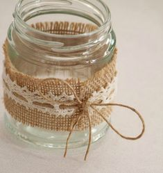 Items similar to Hessian & Lace Glass Jars Tealight Holders (Country / Rustic / Vintage Wedding Props Decor) Australia on Etsy Diy Candle Holders, Diy Candles, Candle Jars, Handmade Candles, Wedding Props, Diy Wedding Decorations, Glass Jar Decorations, Wedding Ideas, Wedding Notes