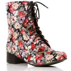 Black Floral Boots ($30) ❤ liked on Polyvore