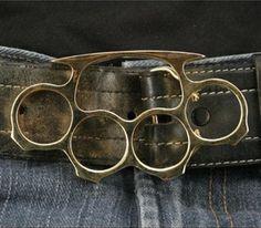 Belt Buckle Brass Knuckles, Medium, Gold
