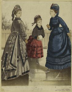 Fashion plate for January 1874 with a girl skating between two women.  Image and text courtesy NYPL Digital Gallery