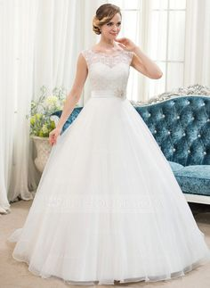 Ball-Gown Scoop Neck Sweep Train Organza Satin Lace Wedding Dress With Beading Sequins (002054362) - JJsHouse