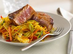 Sticky Tuna with Ribbon Noodles