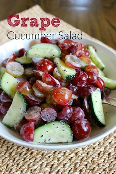 Grape Cucumber Salad: super simple and healthy with delicious flavor.