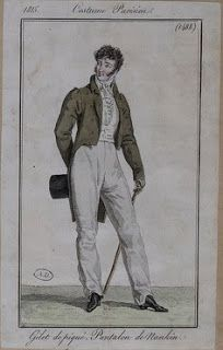 Costume Parisien 1815 via Serendipitous Stitchery: A study on Empire coats from 1810-1830, with a note on researching