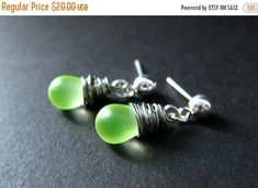 HALLOWEEN SALE Wire Wrapped Earrings. Dangle Earrings. Stud Earrings in Lemon Lime Glass and Silver. Handmade Jewelry by Gilliauna by Gilliauna from Bits n Beads by Gilliauna. Find it now at http://ift.tt/2gvXHqQ!