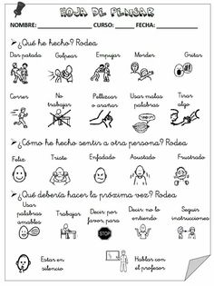 "Spanish ""Think Sheet"" for problem solving and behavior management in the classroom. Spanish Lessons, Teaching Spanish, Spanish Class, Behavior Management, Classroom Management, Visual Management, Conflict Resolution, School Counseling, I School"