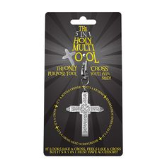 <p>A novelty 5 in 1 Holy Multi Tool includes a key chain, a cross, a flat head screwdriver, a cross head screwdriver and a bottle opener…..what more do you want?</p>