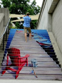 Public Art in Ottawa - Painted stairs in downtown Ottawa near the Rideau Canal Outdoor Stairs, Outdoor Art, 3d Street Art, Street Art Graffiti, Graffiti Artists, Outside Steps, Stair Art, New York Graffiti, Street Painting