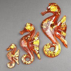 Vintage Seahorses Acrylic Lucite Wall plaques