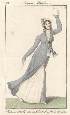 A Regency redingote where the fastenings are only over the bodice.