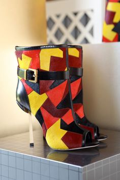 Sergio Rossi Picasso Style Colored Open-Toe Boots 2014 #Shoes #Fashion #Heels
