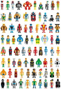 78 legendary superheroes pixelized and arranged in no specific order. You can buy a print, stretched canvas, or even an iPhone case! #awesome
