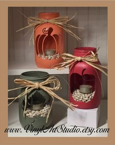 Chalk Painted Quart Jar Candle Holder Centerpiece...........Holiday, Rustic, Vase, Fall, Autumn, Pumpkin, Apple, Maple Leaf
