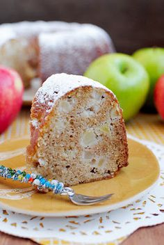 Fresh Apple Cake  Ingredients:1/2 cup butter, at room temperature  1/2 cup vegetable oil  2 cups sugar  1/2 cup no sugar added applesauce  3 eggs  2 teaspoons vanilla extract  3 cups flour  1 teaspoon cinnamon  1 teaspoon baking soda  1 teaspoon baking powder  1/2 teaspoon salt  2-3 Granny Smith apples (or other baking apple), cored and cut into 1/2-inch cubes (3 cups total)  1/4 cup powdered sugar
