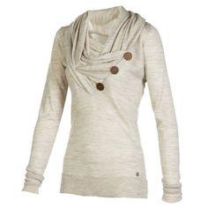 Dress Lily - Stylish Cowl Neck Long Sleeve Button Design Draped Women's Sweatshirt