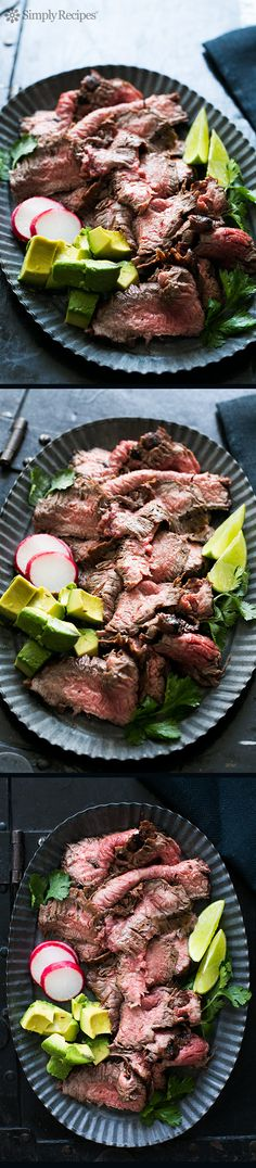 Carne Asada ~ Carne asada is the thinly sliced, grilled beef served so often in tacos and burritos. This carne asada recipe is made with marinated, grilled skirt steak for flank steak. Serve with warm tortillas, avocados, and pico de gallo fresh tomato salsa. #GameDay #SuperBowl on SimplyRecipes.com