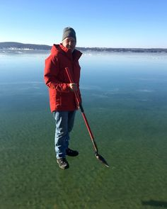 Moment of clarity: Incredibly clear ice Up North makes for wild photo. A photograph of an East Jordan, Mich., man's stroll on the amazingly clear ice of Lake Charlevoix in mid-January has gone viral. (Photo: Courtesy of Andre Poineau) Lac Michigan, Charlevoix Michigan, Northern Michigan, Funny Images, Funny Pictures, Strange Pictures, Funny Pics, Donald Trump, Boyne City