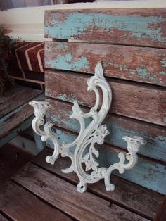 Vintage Shabby Chic Candelabra Wall Sconce by primitivepincushion
