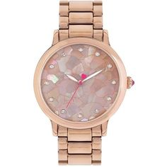 Betsey Johnson Mosaic Rose Goldtone Link Bracelet Watch ($135) ❤ liked on Polyvore featuring jewelry, watches, rose gold, bracelet wrist watch, rose gold tone watches, rose gold tone jewelry, polka dot watches and water resistant watches
