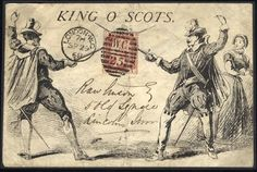 1868 printed 'King O' Scots' cover produced to advertise the play at Drury Lane Theatre, depicting two swordsmen. Posted locally in London with 1d red tied London duplex,