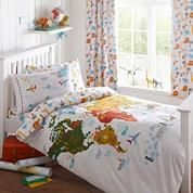Capturing his cool and contemporary style, this bedding set is designed by Ben de Lisi and features a world map design with labelled countries and fun doodles. Set on a white base, the splashes of blue and bold orange reverse will bring colour to neutral bedroom settings.