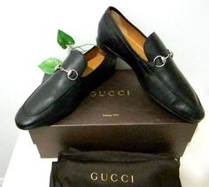 Gucci Men Black Loafer Leather Italian Shoes Size Gucci 12 US 13 $595 #Gucci #LoafersSlipOns