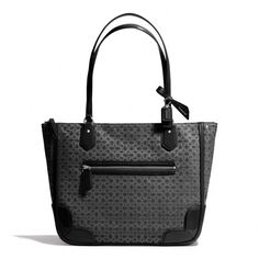 The Poppy Small Tote In Signature C Metallic Outline Fabric from Coach....Yes.