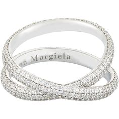 Maison Margiela Fine Twisted Ring (361,585 DOP) ❤ liked on Polyvore featuring jewelry, rings, colorless, fine jewelry, pave setting ring, 18 karat white gold ring, white gold pave ring and twist ring