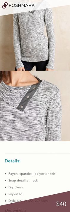 Anthropologie Dolan Snap Neck Pullover NWT. Size large. Perfect condition. Anthropologie Tops
