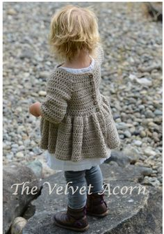 CROCHET PATTERN-The Rufflyn Cardigan 3/4 5/6 7/8 di Thevelvetacorn