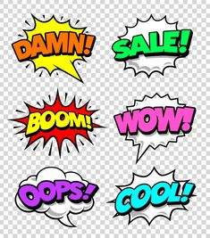 Comic speech bubbles with expression tags and sound effects. Bright dynamic pop art design elements on transparency background. Superhero Classroom, Superhero Party, Letras Comic, 6 Month Baby Picture Ideas Boy, Superman Birthday Party, Comic Bubble, Pop Art Fashion, Pop Art Wallpaper, Free Graphics
