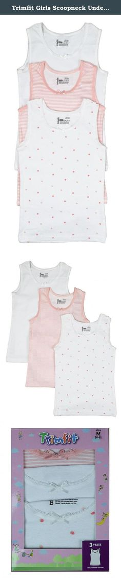 e095d93ad39c9e Trimfit Girls Scoopneck Undershirt 100% Combed Cotton In Assorted Prints (3  Pack) Medium