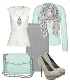 Office work outfit mint and gray