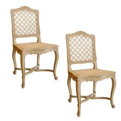 Pair of French Louis XV Style Dining Chairs