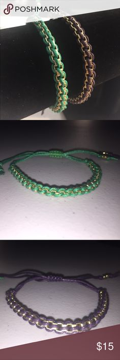 Dual Rope/Metal Entwined Bracelets These cute bracelets are in twined with rope and metal. Adjustable to fit any size wrist. Price includes both bracelets.  Make sure to bundle with other items to save on shipping! Jewelry Bracelets
