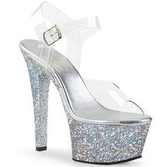 Hot For Heels And More - Pleaser Clear And Silver Multi Glitter - Ankle strap sandal featuring holographic glitters covering the entire platform bottom. Platform High Heels, Sexy High Heels, Stiletto Shoes, Shoes Heels, Heel Boots, Top Shoes, Stripper Heels, Glitter Heels, Silver Glitter