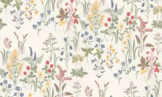 Flora  (553-01) - Sandberg Wallpapers - A pretty all over floral design with a variety of different flowers such as a pansies foxgloves and bluebells. Shown in green yellow red and blue on cream. This is a paste the wall product. Please request a sample for true colour match.