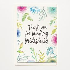 Thank You For Being My Bridesmaid - Greetings Card, Bridal Card, Wedding Card by ShortAndSweetPrint on Etsy