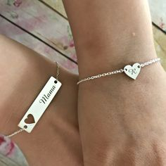 Personalized Generations Bracelet-Customized 3pcs Nameplate Link Charm Bracelet for Mother Wife Teen from Daughter Husband