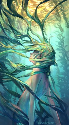 Ocean Forest by Wenqing Yan (Yuumei), Adobe Photoshop United States Wenqing Yan (Yuumei) is an artist with a focus on creating artworks and graphic. Digital Painting Portrait, Yuumei Art, Art Hipster, Art Fairy Tail, Illustration Art Nouveau, Forest Illustration, Art Couple, Manga Kawaii, Kelp Forest