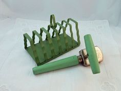 Vintage toast rack and can opener - green kitchen ware $15