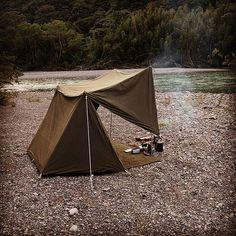 先日の野営地。 なかなか良い雰囲気。 #シェルターハーフテント #ソロキャンプ #野営 #軍幕 #パップテント
