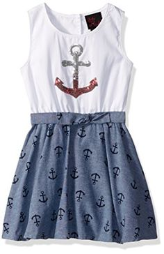 Little Lass Baby Girls' Toddler 1 Pc Chambray Anchor Dress, Bright White, Anchor Dress, Girls Dress Up, Chambray, Skater Skirt, Image Link, Girl Outfits, Rompers, Bright, Amazon