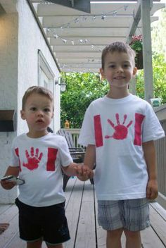 Hand print Canada Day t-shirts
